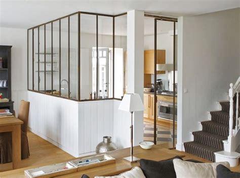 s駱aration vitr馥 entre cuisine et salon industrial windows as room separation deco