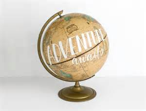 adventure awaits painted world globe 12 inch painted