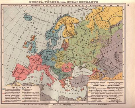 the nineteenth century europe german map from 19th century showing the distribution of peoples and languages in europe source