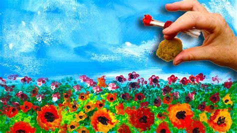 can you use acrylic paint on cotton canvas easy poppies no brushes acrylic painting sponge and