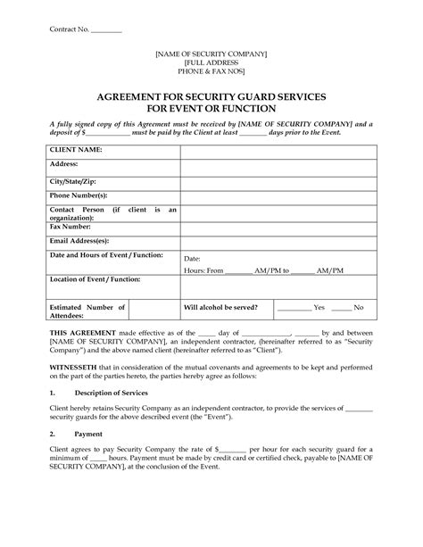 security service contract template free 8 best images of event security guard contract agreement
