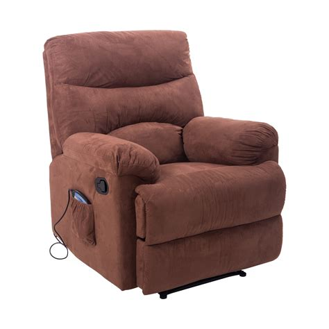 heated massage chair recliner homcom heated vibrating suede massage recliner brown