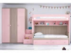 Wandfarbe Korall Chambre Enfant Avec Lit Mezzanine Amp Bureau Moretti