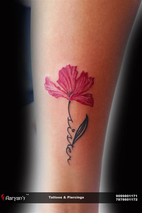 artistic small tattoos small and creative name with flower artist mahi