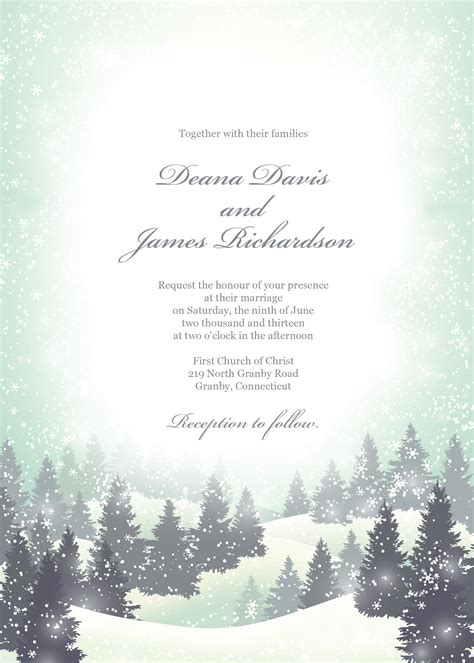Winter Wonderland Wedding Invitation Template Can Also Be Used As Any Greeting Card Because The Free Winter Invitations Templates