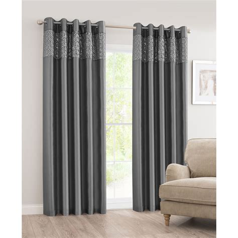 B M Luxor Sequin Top Border Thermal Eyelet Curtain 46 X 72