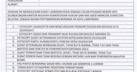 93 contoh surat lamaran dan surat pernyataan cpns kemenkumham