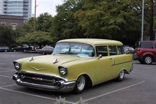 parked cars 1957 chevrolet 2 door wagon