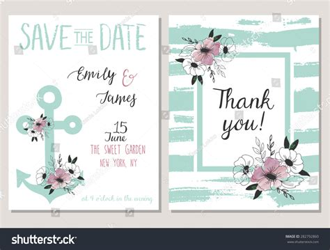 2 Save Date Cards Template Collection Stock Vector 282792860 Shutterstock Save The Date Cards Templates 2