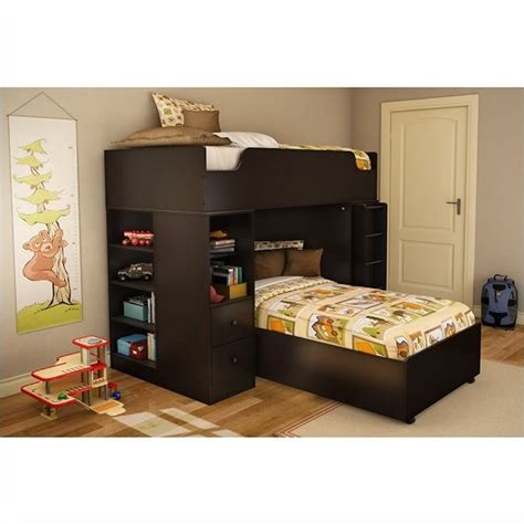 south shore loft bed south shore logik twin loft bed in chocolate finish 3359a3