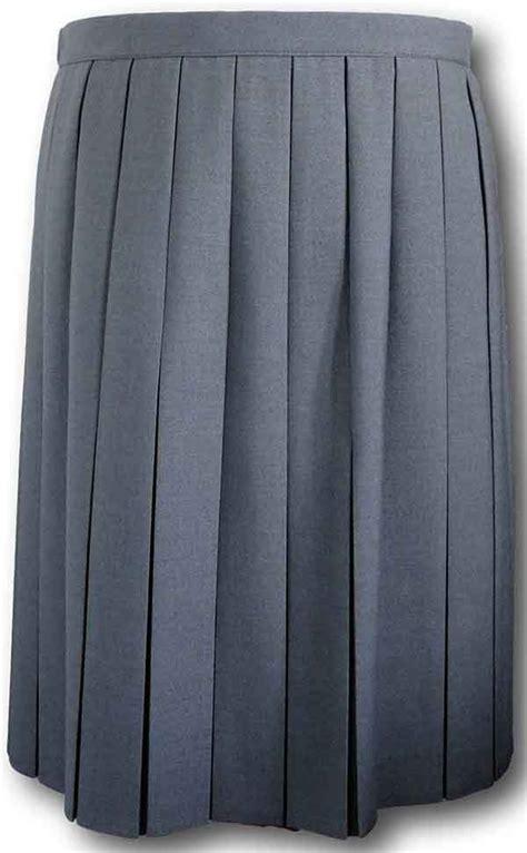 grey box pleat school skirt