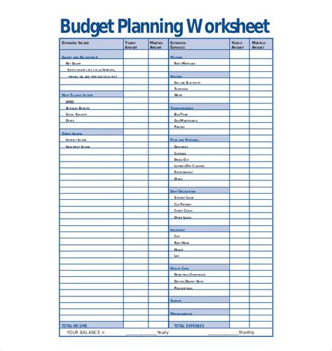 monthly budget planner template free budget planner worksheet free 1000 ideas about weekly