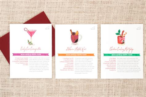 printable cocktail recipes cards festive recipe holiday cards three little words