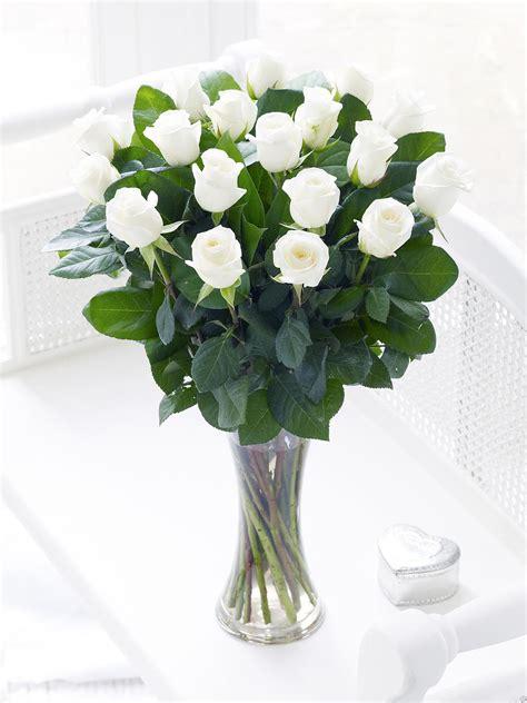White Roses In A Vase by 1 Dozen White Roses