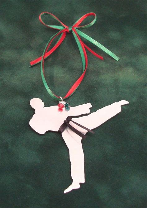 karate tae kwon do metal christmas tree ornament by