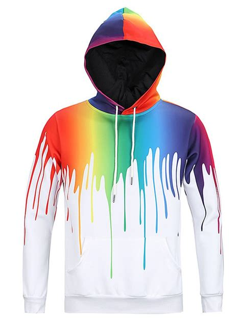 new look paint splash print long sleeve hoodie for men in