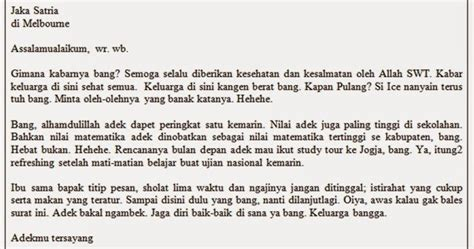 surat pribadi penjelasan contoh