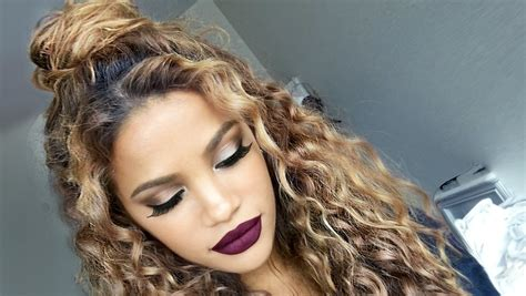 curly hairstyles hair up the curly half up bun hairstyle full routine makeup