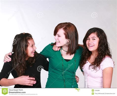 group teen girls laughing mixed group of laughing teen girls royalty free stock