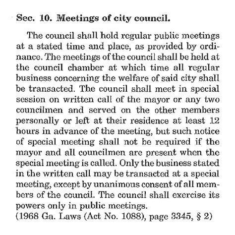 section 10 charter city of cumming specially called meeting tues dec 23