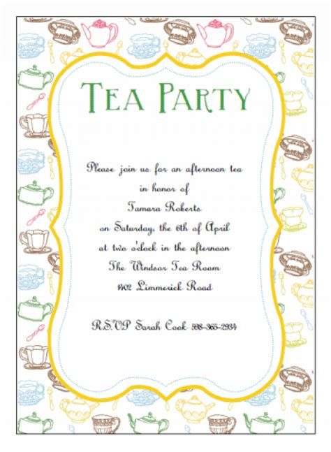 printable invitation party free tea party invitations gangcraft net