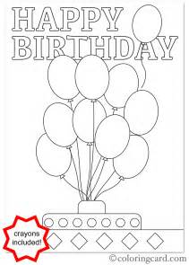coloring birthday cards birthday coloring card balloons coloring card