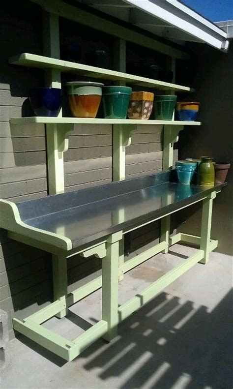 steel potting bench pin by sherry vest on edible green stuff garden ideas