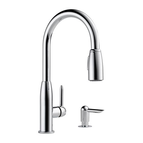 peerless pull down kitchen faucet peerless faucet p188103lf s contemporary pull down kitchen faucet with soap dispenser atg stores