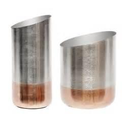 vase copper base grey set of 2 design by hubsch