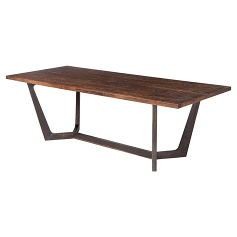 Industrial Dining Table Jaxon Industrial Loft Rustic Burnt Oak Wood Dining Table Kathy Kuo Home