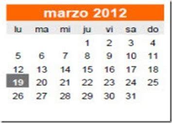 Calendario Marzo 2012 Calendario Laboral Marzo 2012 Definanzas