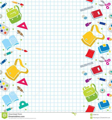 school supplies template vector free design template with education supplies stock vector