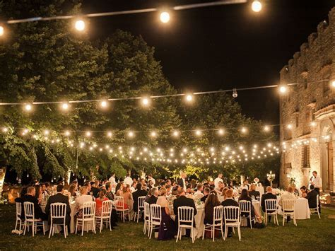 Italy Wedding Outdoor Reception Decorations, lighting.
