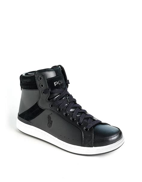 polo leather sneakers polo ralph talbert leather hightop sneakers in