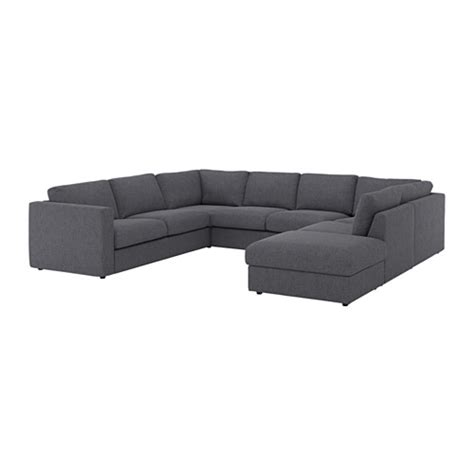 VIMLE U shaped sofa, 6 seat With open end/gunnared medium