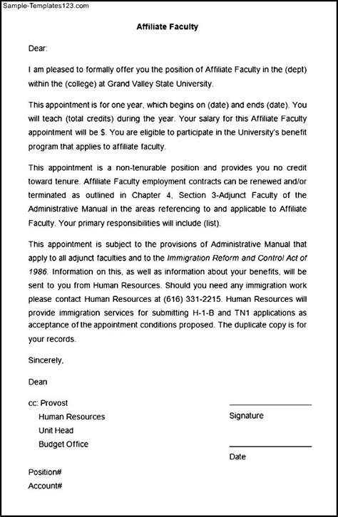 affiliate templates sle affiliate faculty appointment letter sle templates