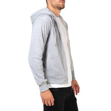 Basic Jacket Hoodie Unisex With Zipper Available In 16 Colou 1 mens plain basic zip up fleece hoodie hooded cotton sweatshirt jacket sport top