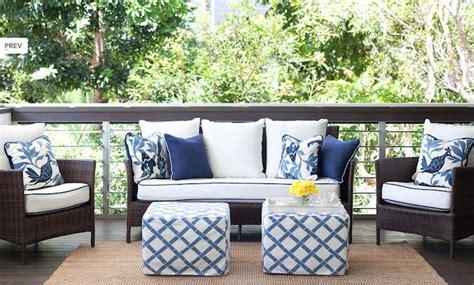 diane bergeron chic white blue deck patio design