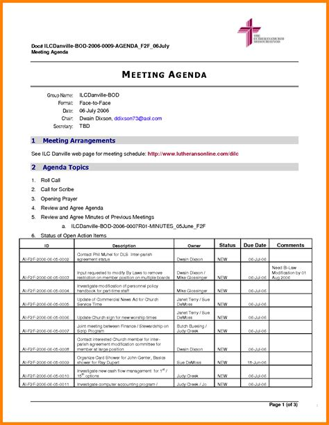 agenda template docs 5 meeting agenda template doc lease template