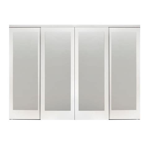 Impact Plus Closet Doors Impact Plus 144 In X 80 In Mir Mel White Mirror Solid Mdf Interior Closet Sliding Door