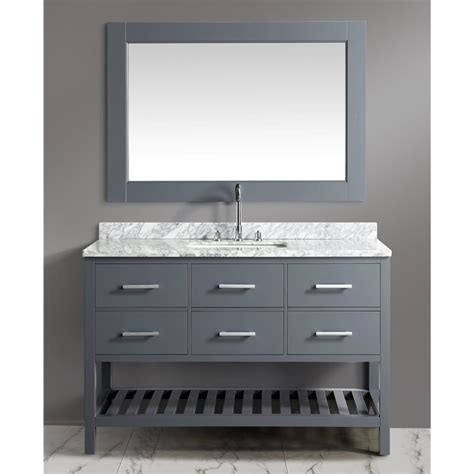 white bathroom vanity with carrera marble top london 54 quot single sink vanity set in gray with white