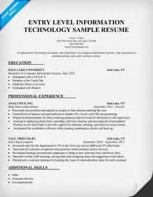 Information Technology Resume Sample Entry Level Information Technology Resume Sample Http