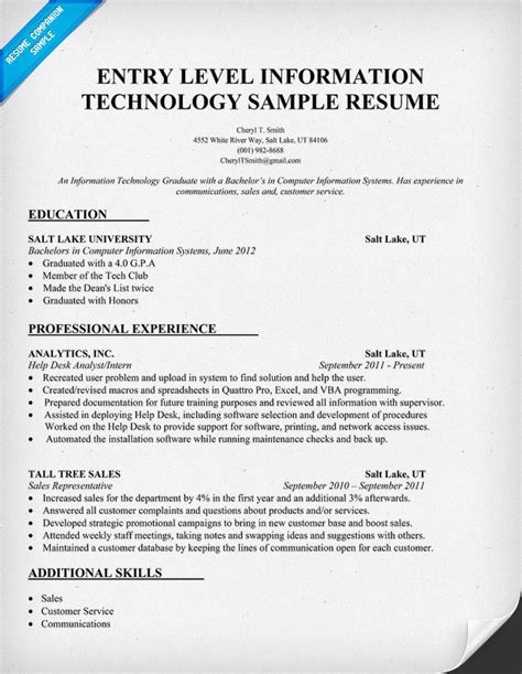 Exles Of Entry Level Resumes by Entry Level Information Technology Resume Sle Http Resumecompanion It Information