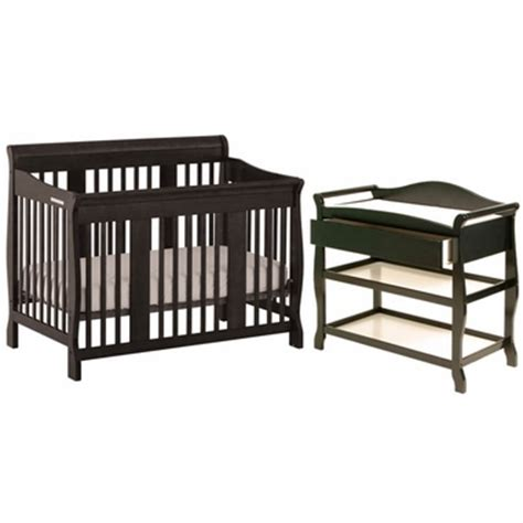 Black Convertible Crib With Changing Table by Storkcraft Black Tuscany Convertible Crib Aspen Changing Table 2 Nursery Set Free Shipping