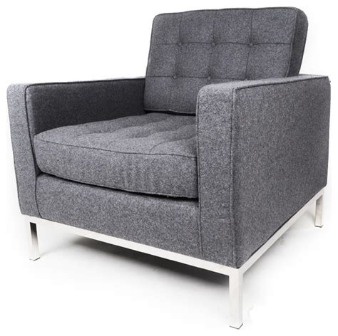 florence knoll style armchair grey wool