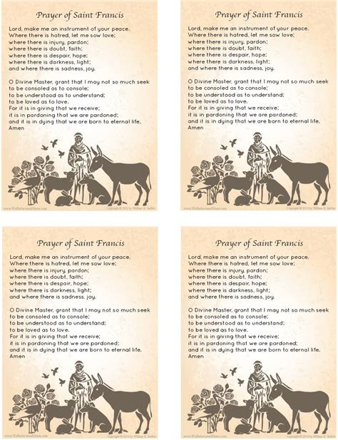 Free Prayer Cards With The Prayer Of St Francis To Share