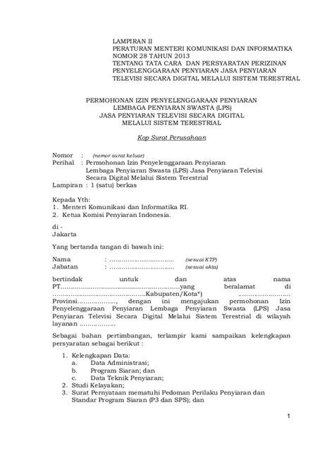 peraturan menteri kominfo no 28 tahun 2013 tentang tata