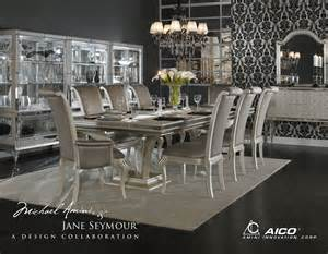 Kanes Furniture Dining Room Sets by Aico Hollywood Swank Crystal Croc Dining