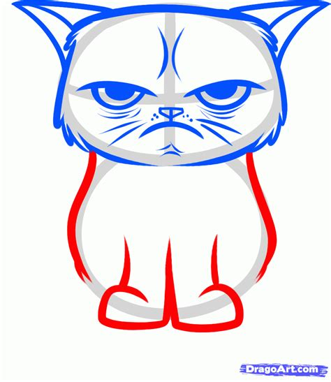 draw the grumpy cat tard the grumpy cat step by step