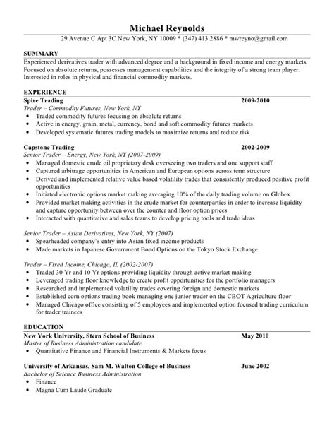 Commodity Broker Sle Resume by Mike Resume